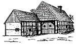 Alte Schule , Unterdorf Wietersheim, Strichzeichnung